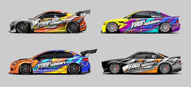 Conjunto de adesivos de carro para rally e corrida
