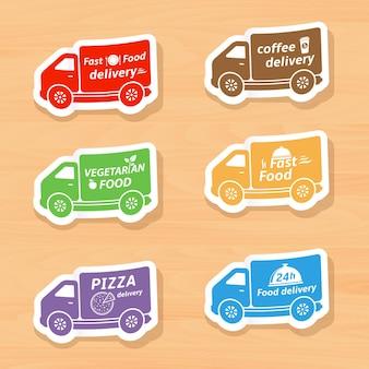 Conjunto de adesivos de carros para entrega de fast food