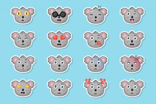 Conjunto de adesivos de coala fofo