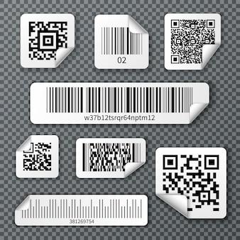Conjunto de adesivos de códigos de barra qr