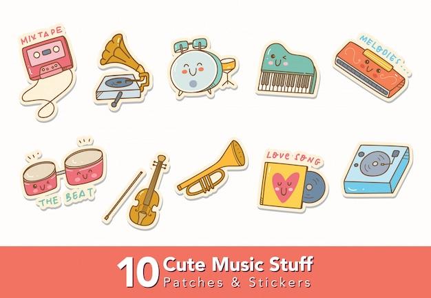 Conjunto de adesivos de coisas fofas de música