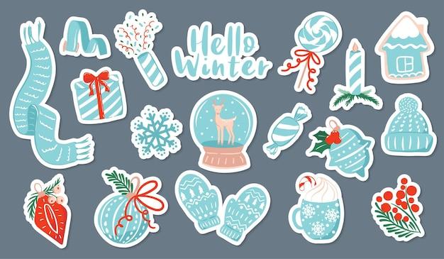 Conjunto de adesivos de coleção de clipart de inverno
