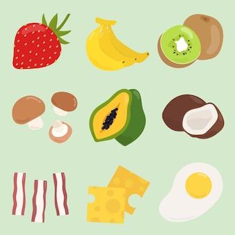 Conjunto de adesivos de comida colorida de vetor