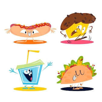 Conjunto de adesivos de comida retrô de desenho animado