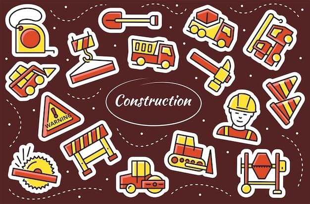 Conjunto de adesivos de construção. ferramentas de trabalho.