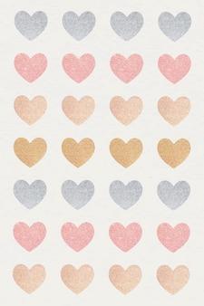 Conjunto de adesivos de coração com glitter