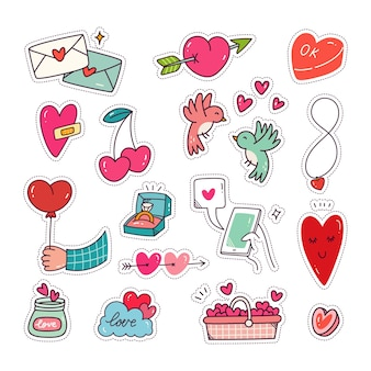 Conjunto de adesivos de coração e amor coleção de remendos da moda