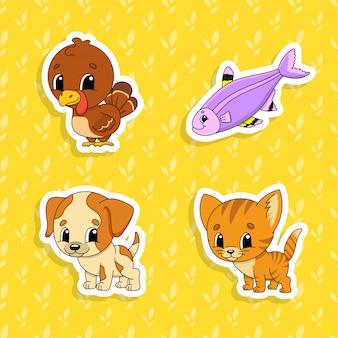 Conjunto de adesivos de cores brilhantes para as crianças. personagens de desenhos animados bonitos.