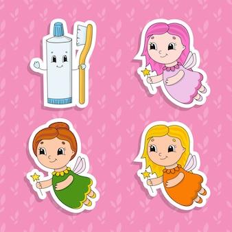 Conjunto de adesivos de cores brilhantes para crianças.