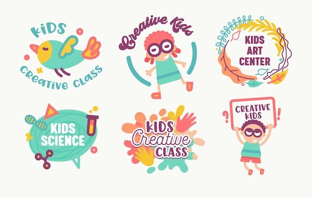 Conjunto de adesivos de crianças, classe criativa, isolado no fundo branco.