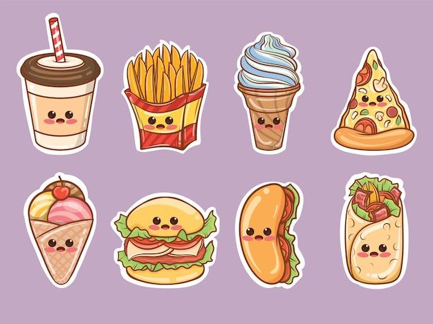 Conjunto de adesivos de desenho animado de fast food fofos