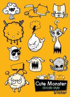 Conjunto de adesivos de desenhos animados de monstros