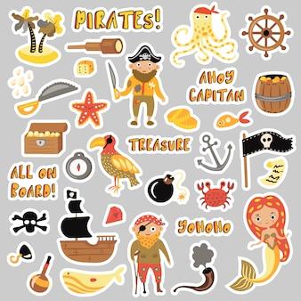 Conjunto de adesivos de desenhos animados de piratas.