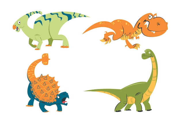 Conjunto de adesivos de dinossauros de desenho animado retrô