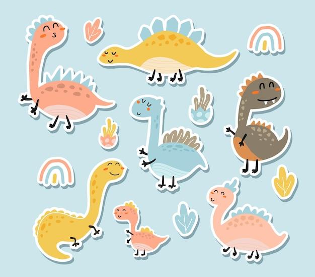 Conjunto de adesivos de dinossauros fofos