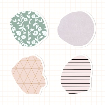 Conjunto de adesivos de distintivo de padrão pastel