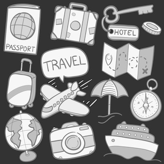 Conjunto de adesivos de doodle de viagem de sketck cinza
