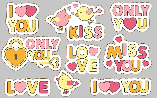 Conjunto de adesivos de doodle engraçado com letras. história de amor para o dia de casamentos ou dia dos namorados