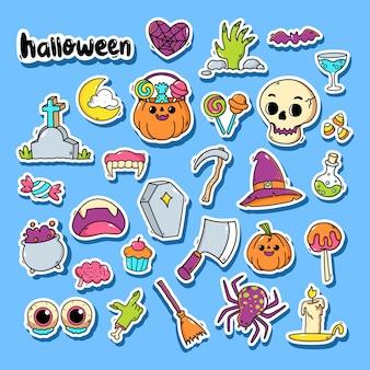 Conjunto de adesivos de elementos de halloween fofo