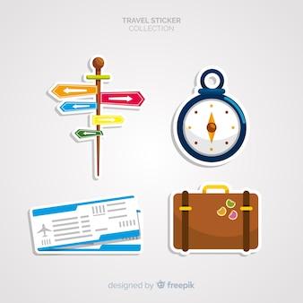 Conjunto de adesivos de elementos de viagem