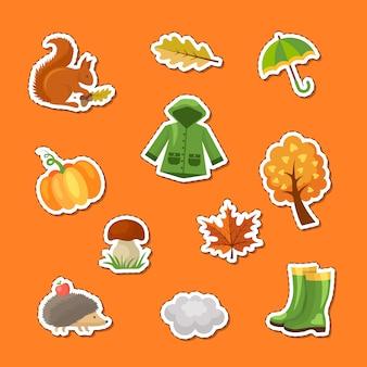 Conjunto de adesivos de elementos e folhas de outono dos desenhos animados