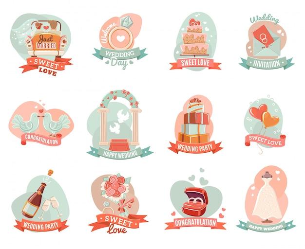 Conjunto de adesivos de emblemas de casamento romântico nostálgico
