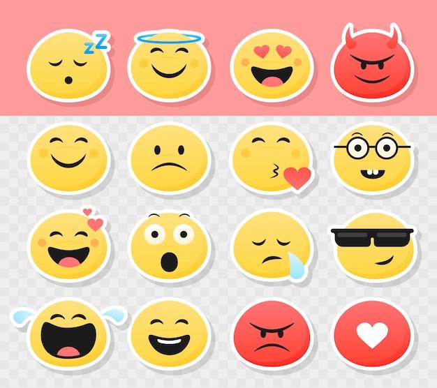 Conjunto de adesivos de emoticon sorridente fofo