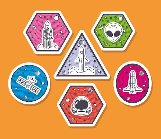 Conjunto de adesivos de espaço em um fundo laranja