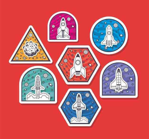 Conjunto de adesivos de espaço em um fundo vermelho