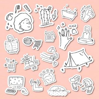 Conjunto de adesivos de estilo doodle de atividades em casa