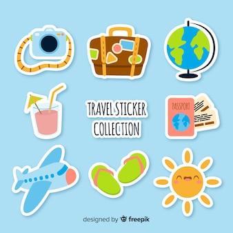 Conjunto de adesivos de etiqueta de viagem plana