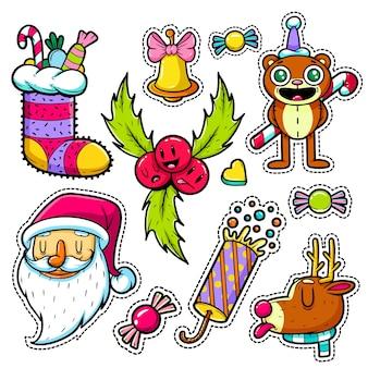 Conjunto de adesivos de feliz natal e feliz ano novo