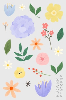 Conjunto de adesivos de flores e folhas