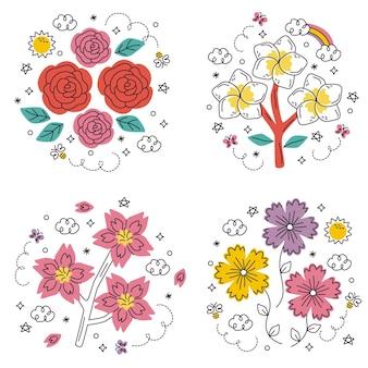 Conjunto de adesivos de flores e plantas desenhadas à mão