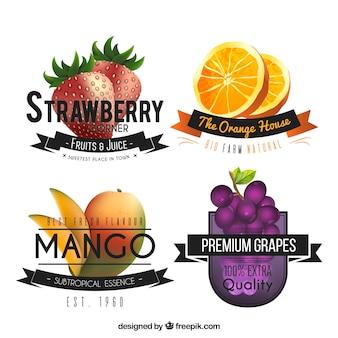 Conjunto de adesivos de frutas realistas