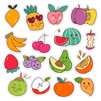 Conjunto de adesivos de frutas saudáveis kawaii