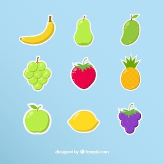 Conjunto de adesivos de frutas