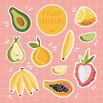 Conjunto de adesivos de frutas.