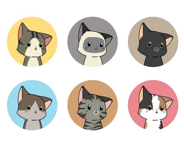Conjunto de adesivos de gatinho em estilo cartoon