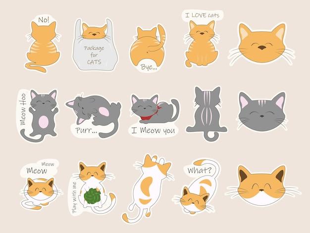 Conjunto de adesivos de gato isolados em bege