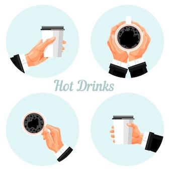 Conjunto de adesivos de hora do café. bebida quente para viagem