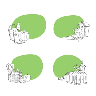 Conjunto de adesivos de ícones de doodle jardinagem