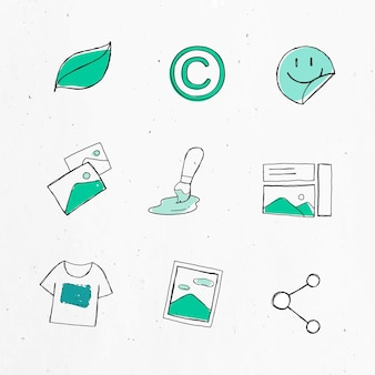 Conjunto de adesivos de ícones de marketing verde
