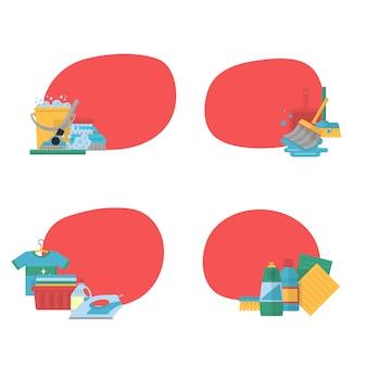 Conjunto de adesivos de ícones plana de limpeza