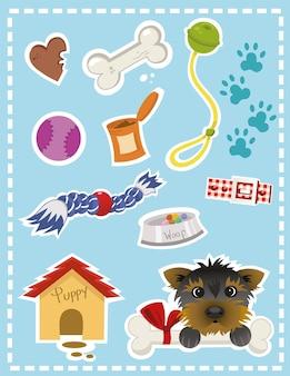 Conjunto de adesivos de ilustração de cachorro e suas coisas