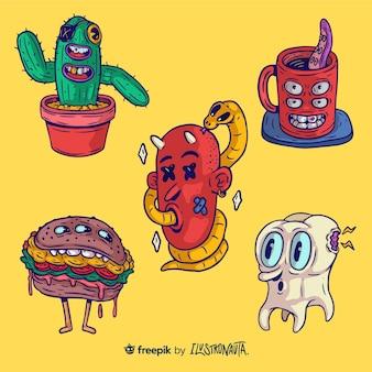 conjunto de adesivos de ilustração de criaturas