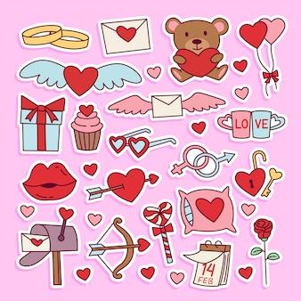 Conjunto de adesivos de ilustração de doodle de dia dos namorados