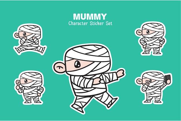 Conjunto de adesivos de ilustração de personagens de halloween de múmia fofa