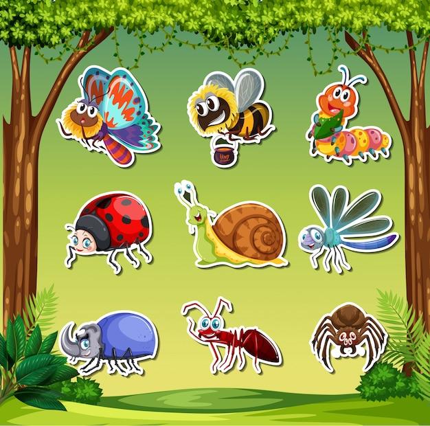 Conjunto de adesivos de insetos