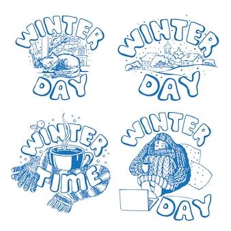 Conjunto de adesivos de inverno